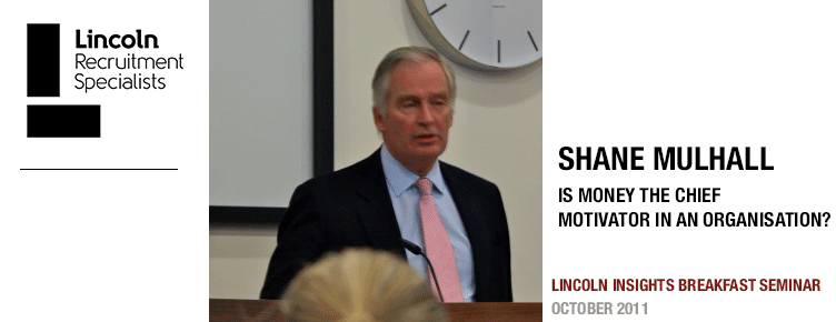 Shane Mulhall speaking at Lincoln's Breakfast Briefing