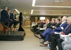 Breakfast briefing with Rugby International Ian Madigan and Dublin Footballer Paul Flynn at the Aviva Stadium.